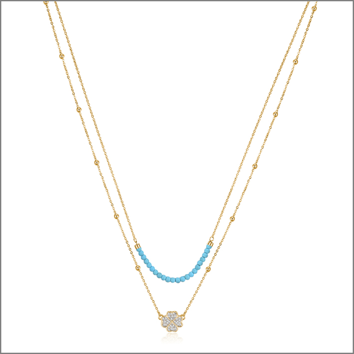 Collana di S'Agapò della collezione Aurora con elementi in turchese