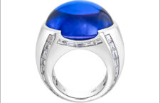 Sofragem, anello con tanzanite cabochon e diamanti