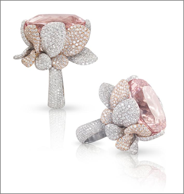 Anelli, composizione. Morganite e pavé di diamanti