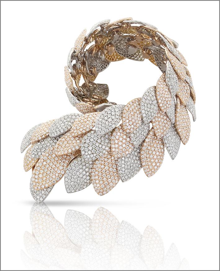 Pasquale Bruni, collezione Flora e Zefiro, oro bianco rosa e diamanti