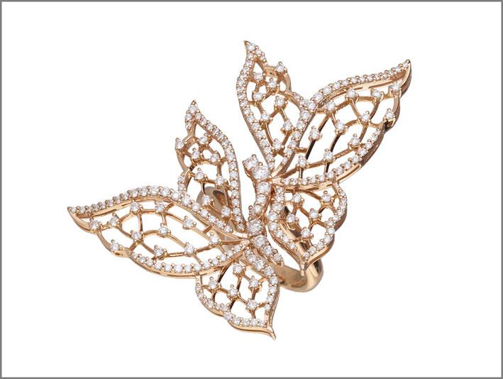 Anello in oro rosa e diamanti della collezione Light Wings