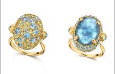 Anello Reverse in oro 18kt con doublette con Madreperla e Topazio Blu London