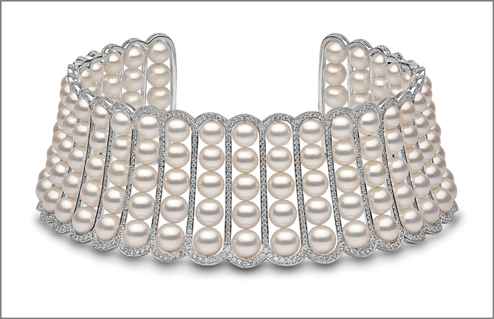Choker con perle e diamanti, Yoko London