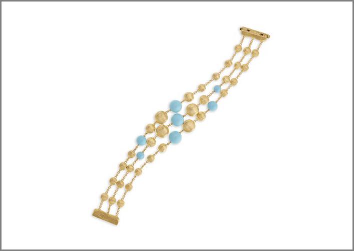 Bracciale con perle d'oro e turchese