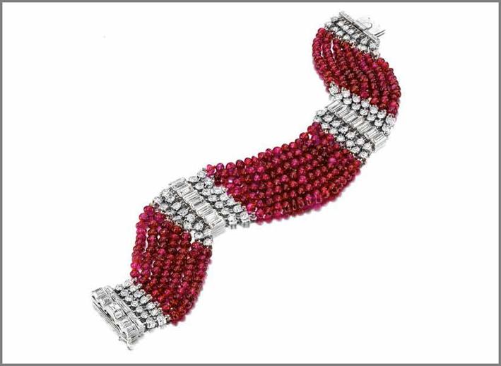 Bracciale di Cartier, 1935, rubini e diamanti