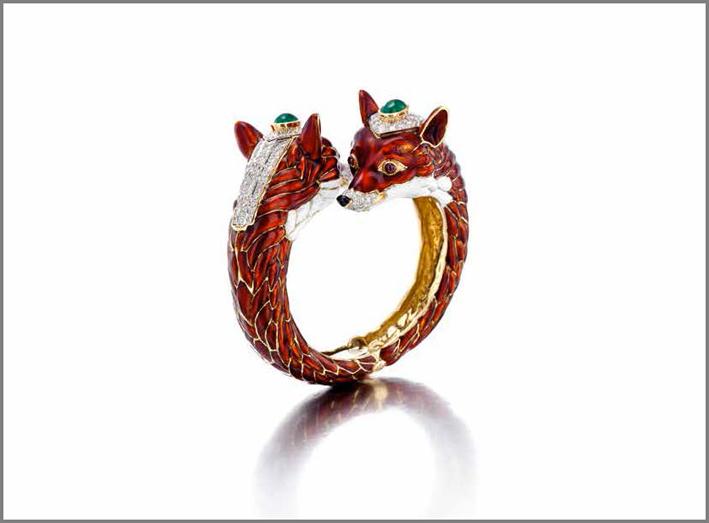 David Webb, bracciale con smeraldi, rubini e smalto a forma di volpe