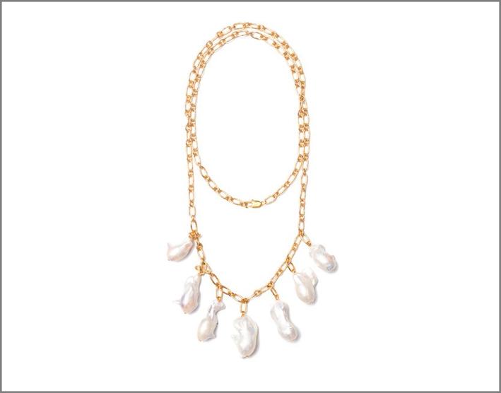 Collana in ottone placcato oro e perle barocche