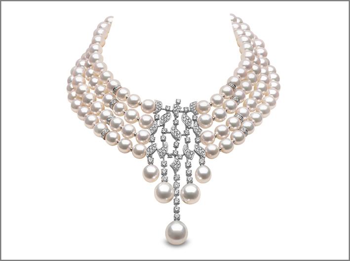 Collana girocollo con diamanti e perle
