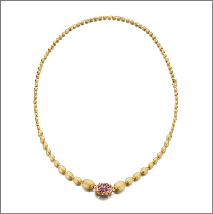 Collana in oro 18kt con diamanti e pietre naturali della linea Flower Bouquet