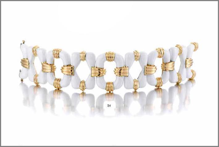 Bulgari, bracciale in oro giallo e smalto