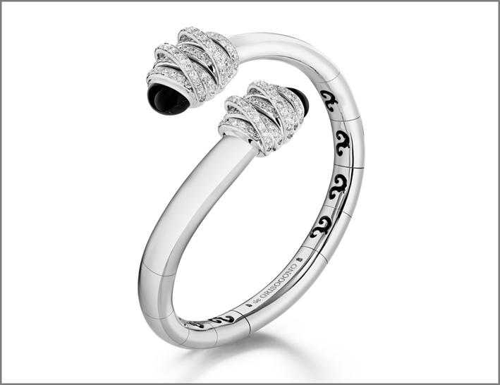 Toi & Moi, bracciale in oro bianco, diamanti e onice