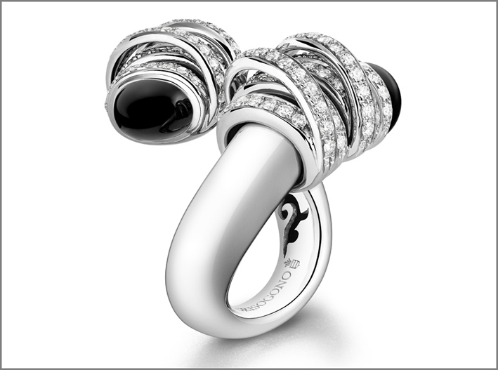 Toi & Moi, anello in oro bianco, diamanti e onice