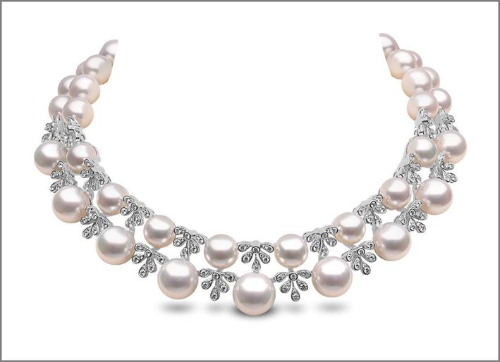 Girocollo con perle e diamanti