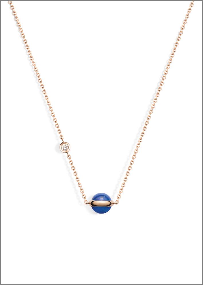 Ciondolo della collezione Possession con lapislazzulo, oro rosa 18 carati, con un diamante taglio brillante (circa 0,06 carati)