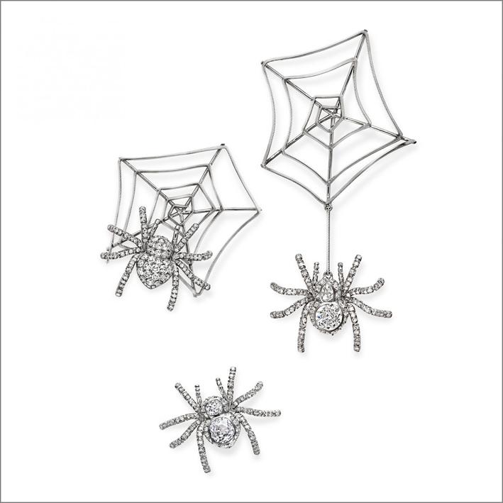Orecchini ragno in oro bianco e diamanti