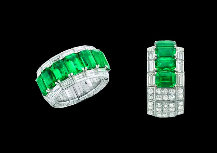 White Gold Octagonal Emerald and Baguette and Round Diamond Ring