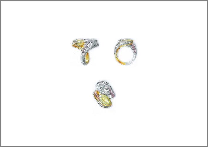 Reza, anello Swing, in oro giallo e bianco con diamanti