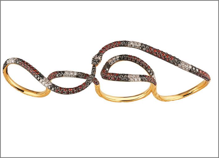 Serpente in oro e zaffiri