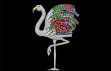 Spilla Flamingo di Cartier, collezione Nils Herrmann. Platino, oro, diamanti, smeraldi, zaffiri, rubini, citrini