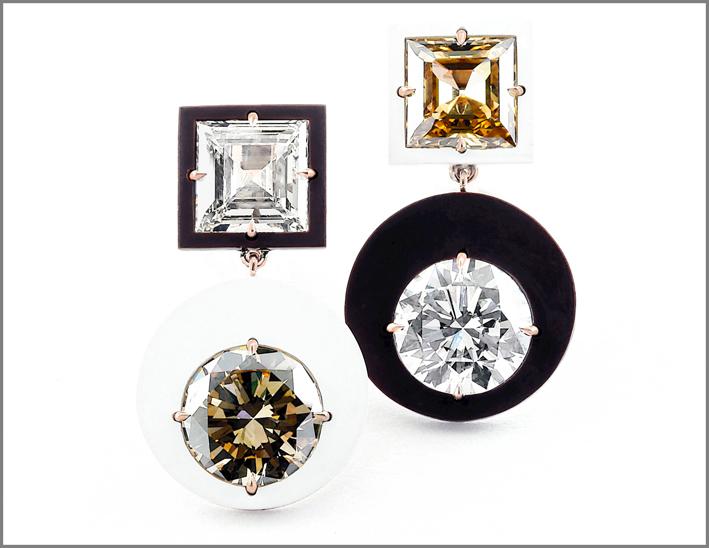 Taffin, orecchini asimmetrici con diamanti brown, ceramica e oro rosa