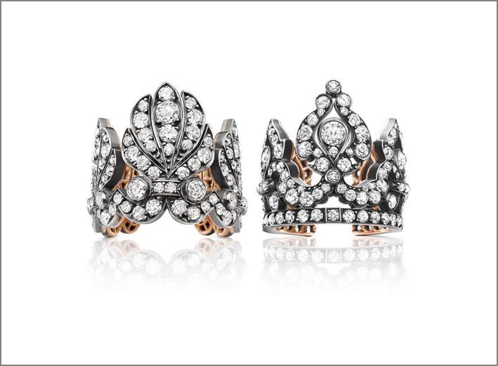 Anelli tiara con oro rosa e diamanti