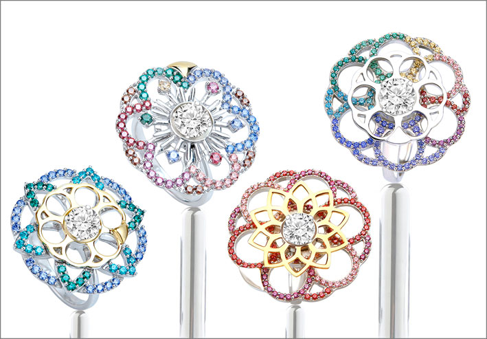 Coronet By Reena Ahluwalia Soul Carousel spinning rings in sterling silver and rainbow palette of Swarovski Created Stones
