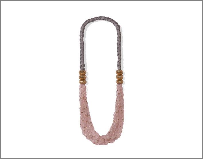 Collana in argento dorato con quarzo rosa