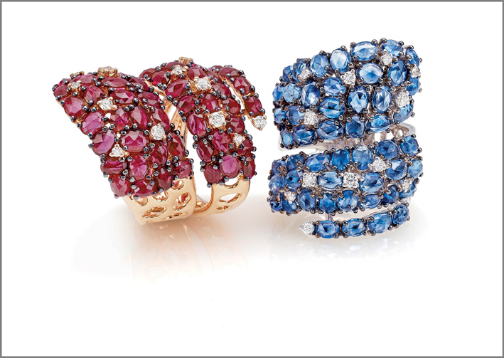 Ring pink gold, diamonds, rubies. Ring white gold, diamonds, blue sapphires