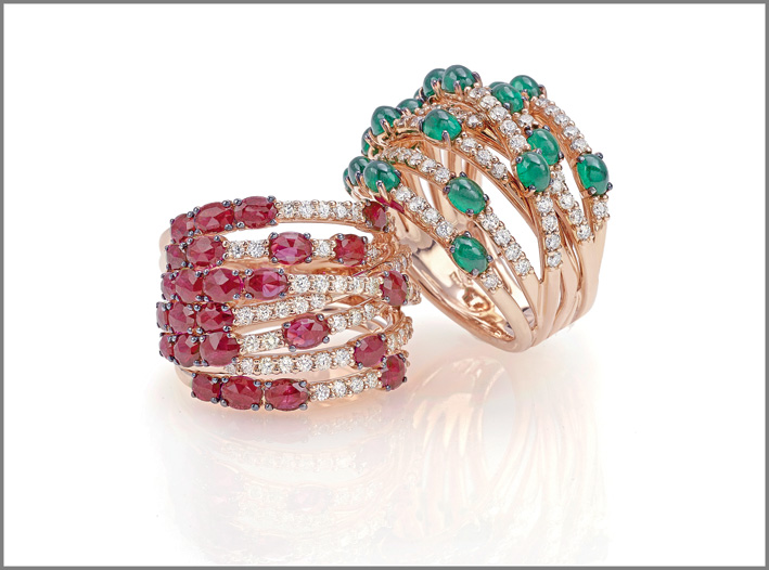 Ring pink gold, diamonds, emeralds. Ring pink gold, diamonds, rubies