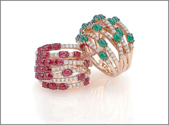 Ring pink gold, diamonds, emeralds. Ring pink gold, diamonds, rubies