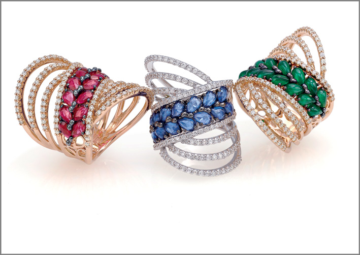 Ring pink gold, diamonds, rubies. Ring white gold, diamonds, blue sapphires. Ring pink gold, diamonds, emeralds