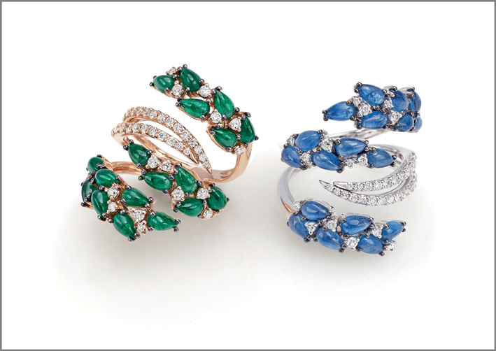 Ring pink gold, diamonds, emeralds. Ring white gold, diamonds, blue sapphires