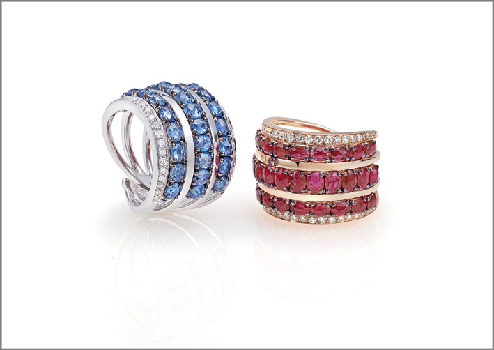Ring white gold, diamonds, blue sapphires. Ring pink gold, diamonds, rubies
