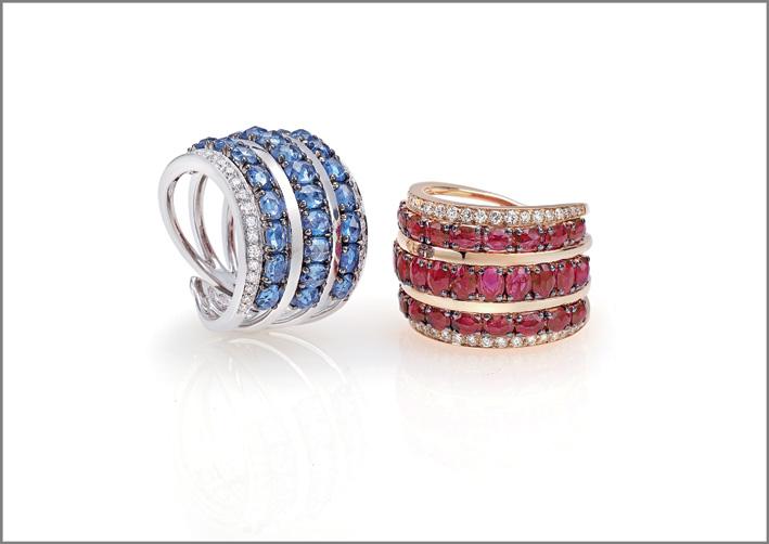 Ring white gold, diamonds, blue sapphires. Ring pink gold, diamonds, rubies