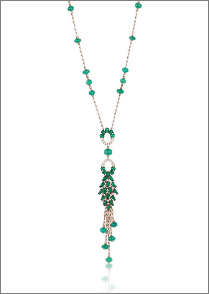 Necklace, pink gold, diamonds, emeralds