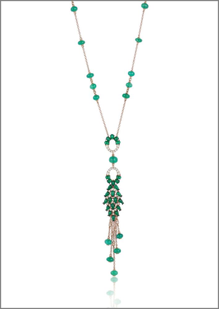 Necklace, pink gold, diamonds, emeralds