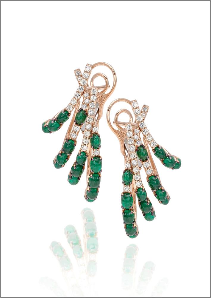 Earrings pink gold, diamonds, emeralds