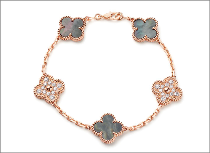 Bracciale Alhambra in oro rosa, diamanti e madreperla grigia