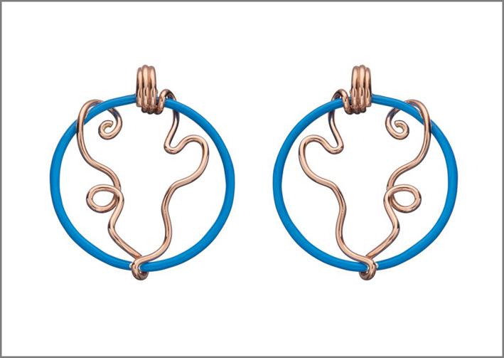 Cerchi in oro rosa 9kt e argento con smalto turchese