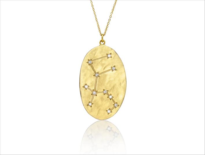 Collezione Astrology, collana Aquarius, in oro spazzolato e diamanti
