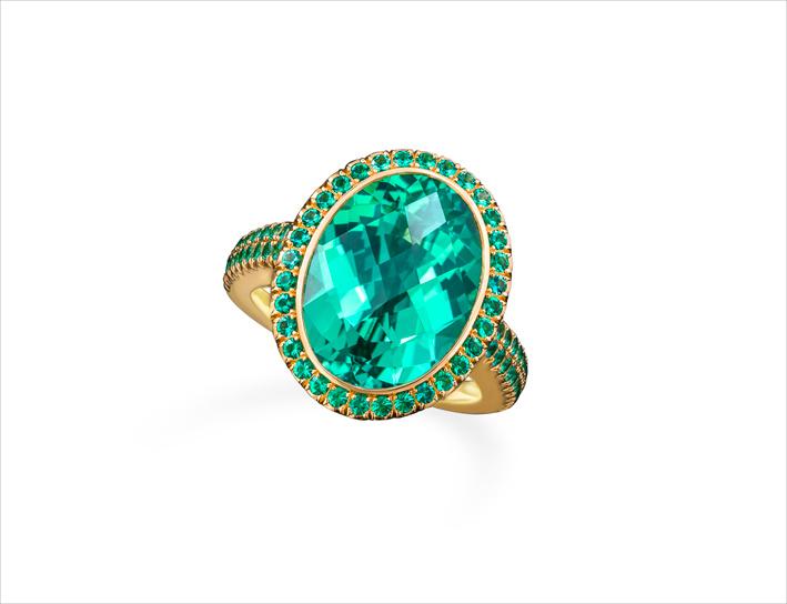 Anello con con tormalina e smeraldi