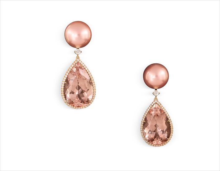 Orecchini con morganite e perle rosa