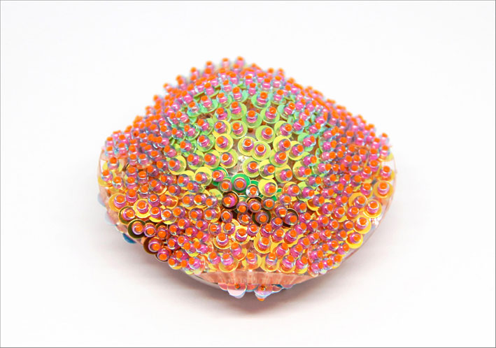 Wanshu Li, Go with the Glow Brooch I. Acrylic sterling silver sequinsglass beads nylon wire