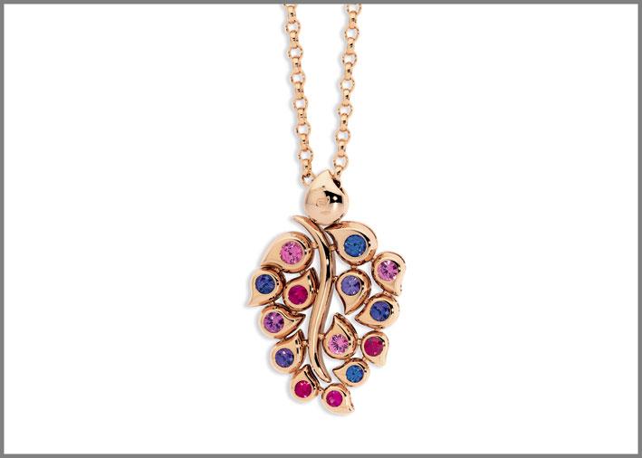 Tamara Comolli, pendente in oro rosa e zaffiri