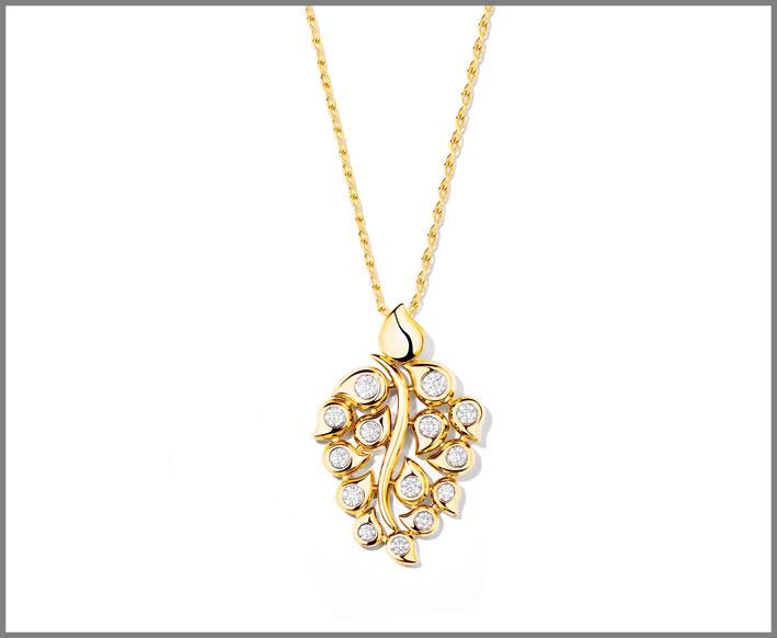 Pendente in oro giallo e diamanti
