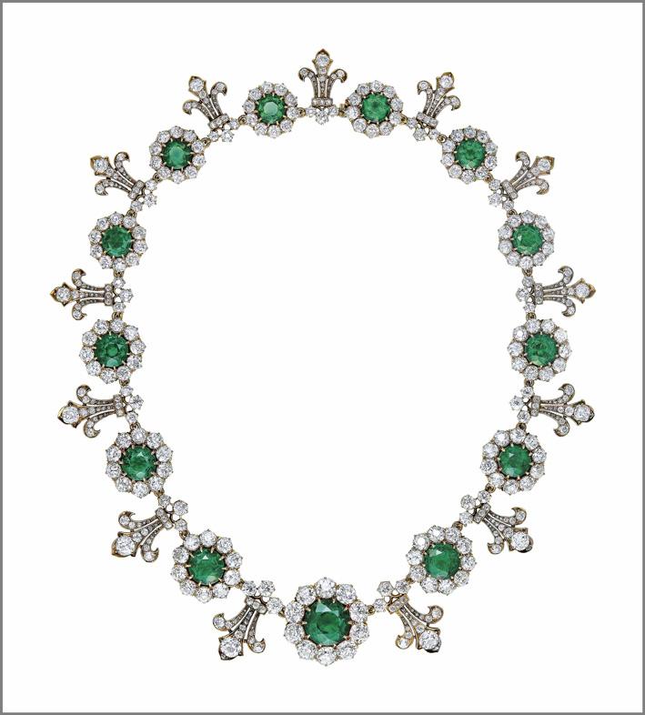 Collana di Tiffany con diamanti e smeraldi di fine Ottocento
