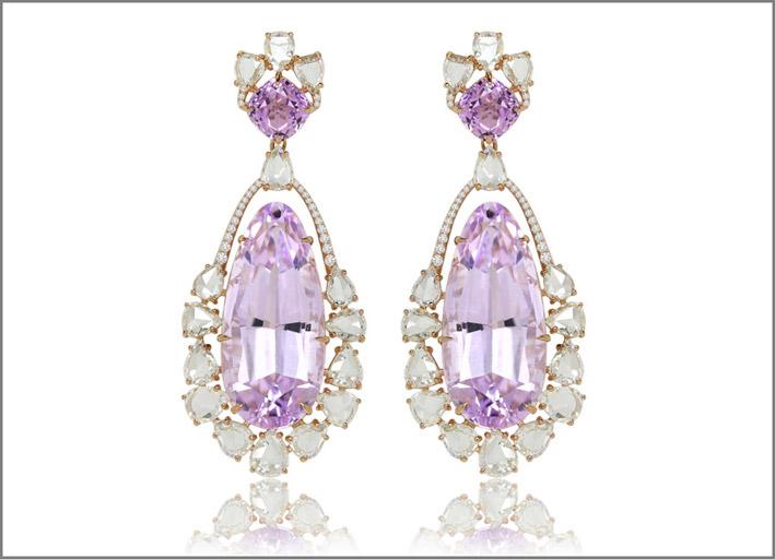 Orecchini con diamanti e 76 carati di kunzite