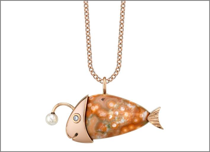 Lanternita, oro rosa, perle, ocean jasper