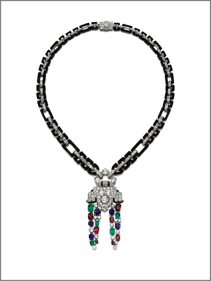 Cartier, fine gem set, onyx and diamond necklace, 1930s and later