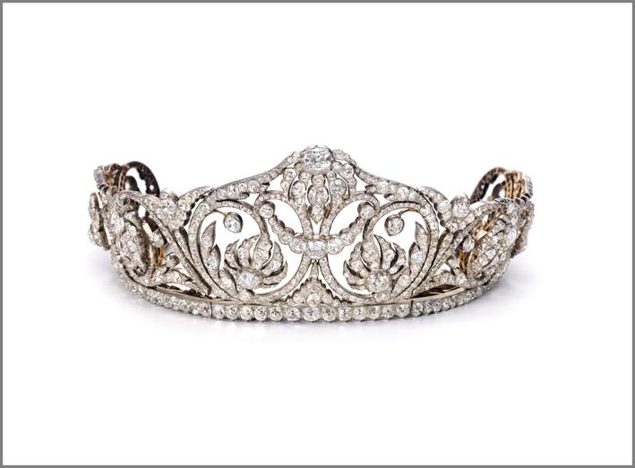From a princely family. Impressive diamond tiara, circa 1830